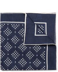 Drakes Drakes Printed Cotton And Silk Blend Pocket Square