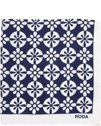 Roda Floral Pocket Square Blue