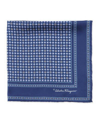 Salvatore ferragamo gancini flower pocket square navy medium 305923