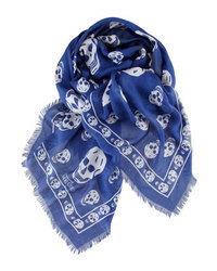 Navy and White Print Scarf