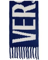 Versace Blue Wool Intarsia Logo Scarf