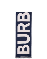 Burberry Navy And Pink Wool Logo Scarf