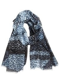 Giorgio Armani Navy And White Smudge Printed Silk Blend Scarf