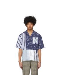 Neil Barrett Blue And Black Artist Print Short Sleeve Shirt