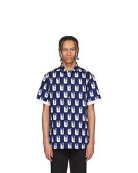 Kenzo Navy And White Shrimp Short Sleeve Shirt