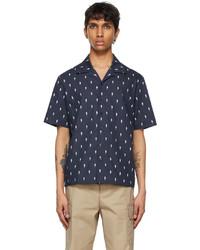 Neil Barrett Navy Thunderbolt Print Short Sleeve Shirt