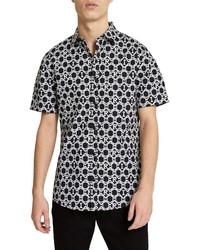 River Island Ri Geo Print Short Sleeve Button Up Shirt