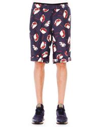 Valentino Poppy Print Drawstring Shorts