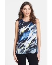 Print sleeveless stretch silk blouse medium 141897