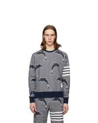 Navy and White Print Sweatshirt