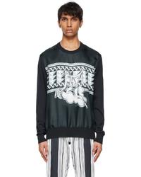 Dolce & Gabbana Navy Silk Printed Sweater
