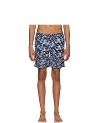 Navy and White Print Swim Shorts