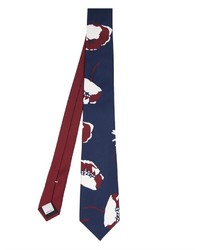 Navy and White Print Tie