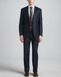 Ermenegildo Zegna Bold Pinstripe Suit Navy