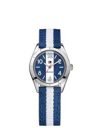 Navy and White Vertical Striped Canvas Watch