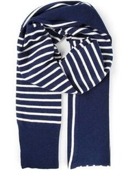 Navy and White Vertical Striped Cotton Scarf