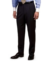 Navy and White Vertical Striped Dress Pants