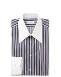 Navy and White Vertical Striped Dress Shirt