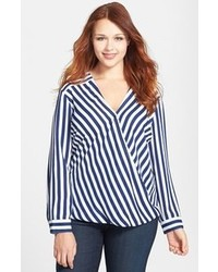 Navy and White Vertical Striped Long Sleeve Blouse