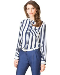 Stripe pocket long sleeve blouse medium 339272