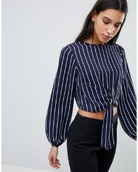 ASOS DESIGN Woven Top With Knot Front In Stripe