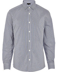 Navy blue stripe long sleeve shirt medium 116403