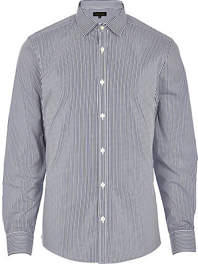 River island navy blue stripe long sleeve shirt where to for Navy blue striped long sleeve shirt