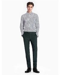Vertical stripe cotton woven shirt medium 6978588