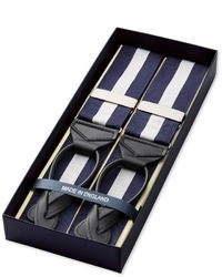 Navy and White Vertical Striped Suspenders