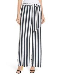 Frame Stripe Wide Leg Silk Pants