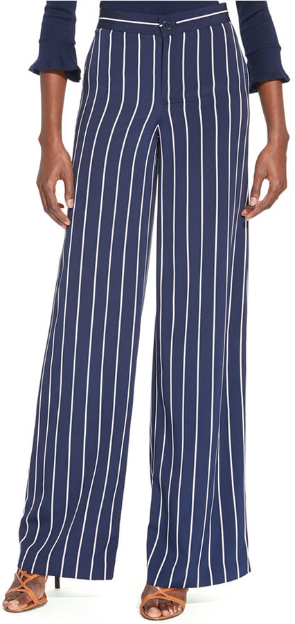 aa22ae68b ... Navy and White Vertical Striped Wide Leg Pants Lauren Ralph Lauren Striped  Wide Leg Pants ...