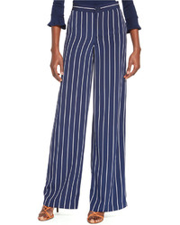 Navy and White Wide Leg Pants