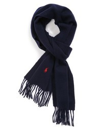 Navy and White Woven Scarf
