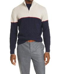 Brunello Cucinelli Half Zip Wool Blend Sweater