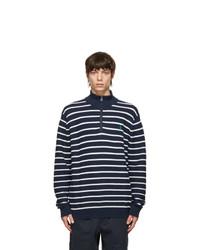 Polo Ralph Lauren Navy And White Cotton Mesh Quarter Zip Sweater