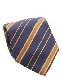 Ferrecci Navy Orange Striped Necktie And Cuff Links Boxed Set
