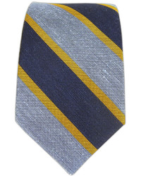 The Tie Bar Linen Bold Stripe Navybaby Blueyellow Gold