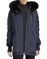 Derek Lam 10 Crosby Satin Ruched Sleeves Anorak Jacket W Fox Fur