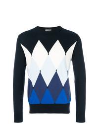 Navy Argyle Crew-neck Sweater