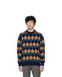 Prada Blue And Brown Crewneck Sweater