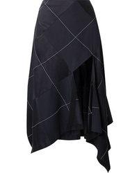 Monse Ed Satin And Crepe Midi Skirt