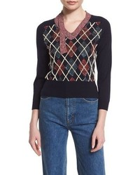 Marc Jacobs 34 Sleeve Embellished Argyle Sweater Navy