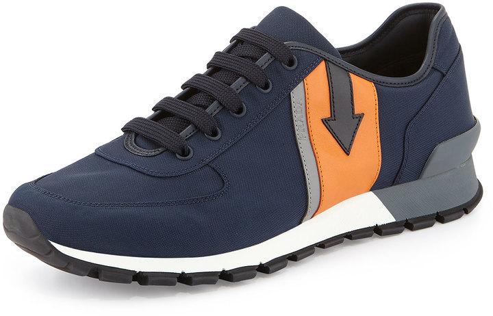 ... Shoes Prada Arrow Side Nylon Running Sneaker Navy ... 9a8be6036611