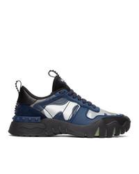 Valentino Garavani Black And Blue Camo Rockrunner Sneakers