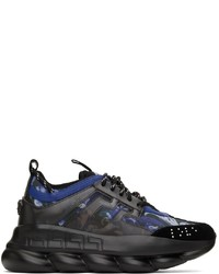Versace Black Blue Chain Reaction Sneakers