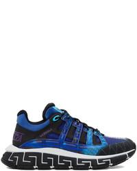 Versace Black Blue Trigreca Low Top Sneakers