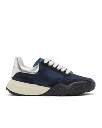 Alexander McQueen Navy And Silver Court Trainer Sneakers