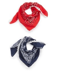 Capelli of New York 2 Pack Lace Trim Bandanas