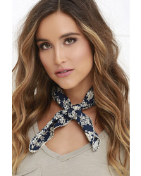 Bold Fashioned Ivory And Navy Blue Floral Print Bandana