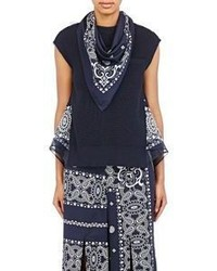Sacai Mixed Media Bandana Top Blue